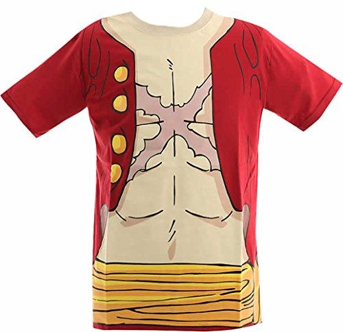 (ワンピース)ONE PIECE 大人メンズ なりきり 半袖Tシャツ【12893245】 L ルフィ
