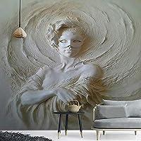 Bzbhart テレビの背景装飾画、壁用ステッカーカスタム壁画壁紙ヨーロッパスタイルの3Dステレオマスク美容像写真壁布リビングルームの背景壁の壁紙-120cmx100cm