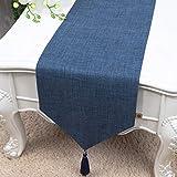 テーブルランナー ホームデコレーション 北欧 純色 おしゃれ 長方形 エレガント モダン シンプル 結婚式 クリスマス (Color : Blue, Size : 33*250cm)