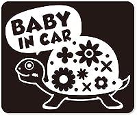 imoninn BABY in car ステッカー 【マグネットタイプ】 No.53 カメさん (黒色)