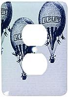 3drose LSP _ 179064_ 6ビンテージホットAir Balloons–2プラグコンセントカバー