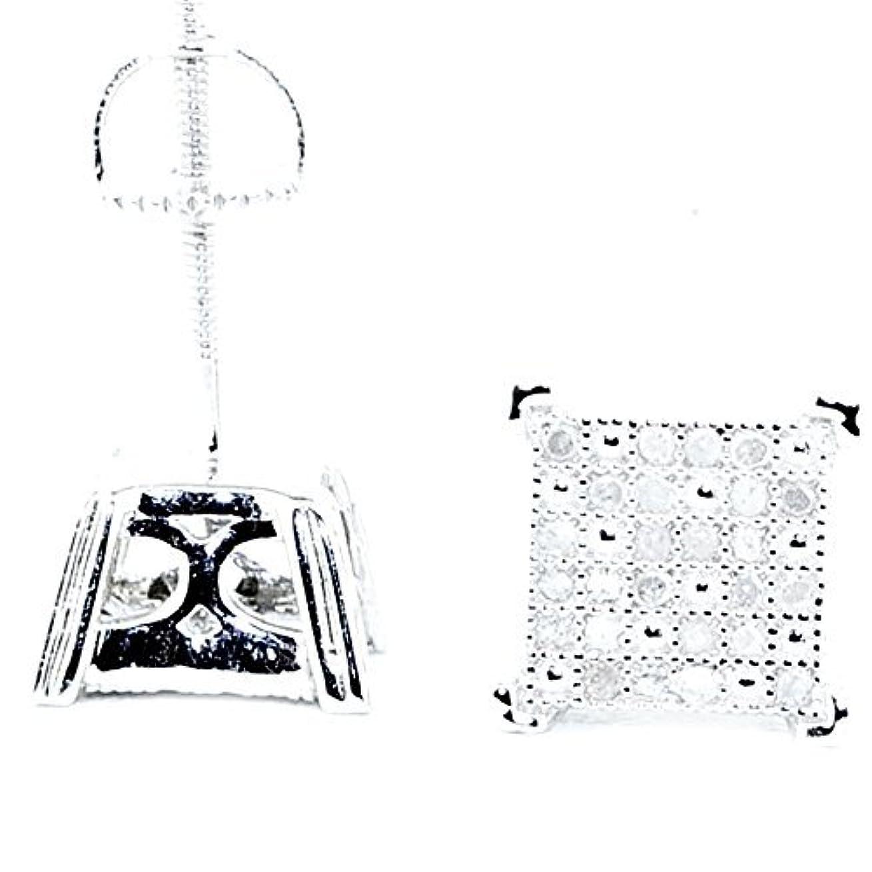 群がる郵便局記念品メンズダイヤモンドスタッドイヤリング1 / 5cttwスターリングシルバー8 mm幅スクリューバック