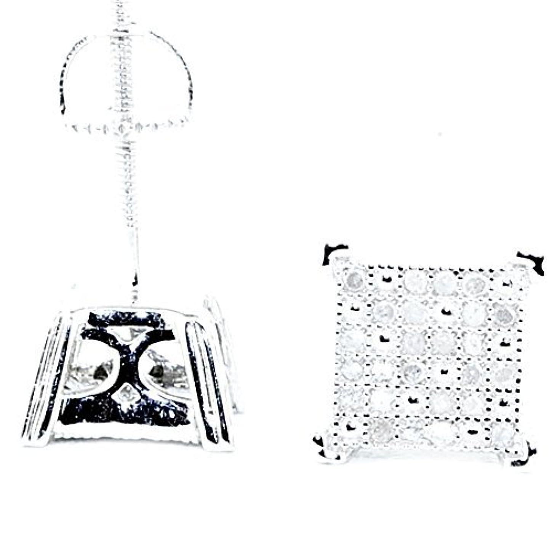 強化するラッカスゴシップメンズダイヤモンドスタッドイヤリング1 / 5cttwスターリングシルバー8 mm幅スクリューバック