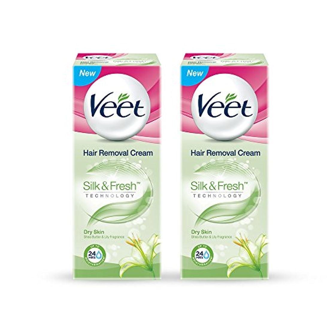 種電気陽性基礎理論Veet Hair Removal Gel Cream for Dry Skin with Shea Butter & Lily Fragrance 25 g (Pack of 2)