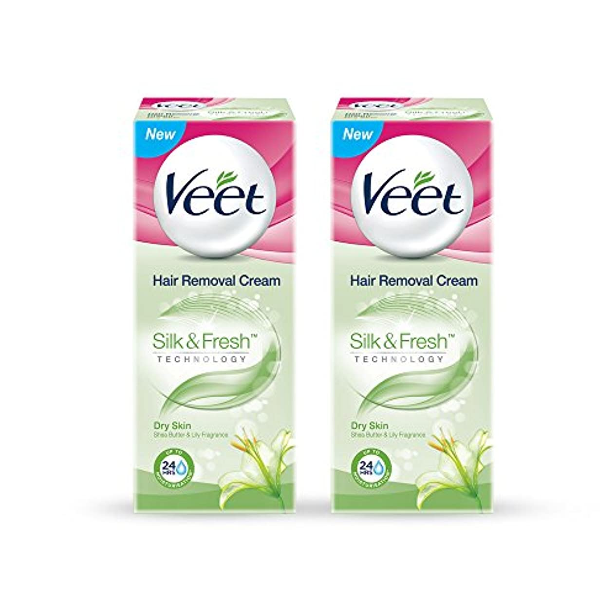不快なリーガン句読点Veet Hair Removal Gel Cream for Dry Skin with Shea Butter & Lily Fragrance 25 g (Pack of 2)
