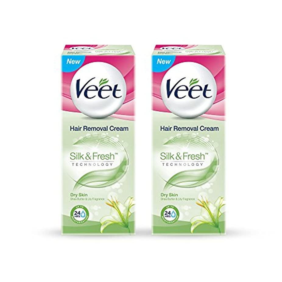 ずんぐりした権利を与えるルーチンVeet Hair Removal Gel Cream for Dry Skin with Shea Butter & Lily Fragrance 25 g (Pack of 2)