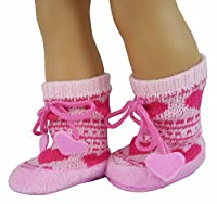 Pink Heart Fair Isle Bootie Slippers made for 18 inch American Girl Dolls