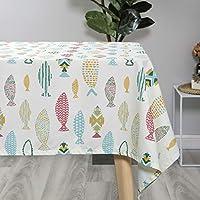 長方形のテーブルクロス、キッチンコーヒーテーブルレストランの装飾のための新鮮なプリントポリエステル生地アンチシワ (サイズ さいず : 55.1''*70.9'')