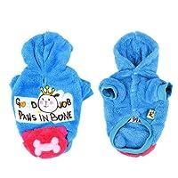暖かいブルーボーン印刷プレススタッドボタンフードペットの犬子犬のコートS