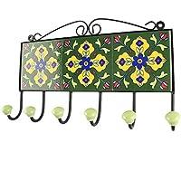 IndianShelfハンドメイドセラミックグリーンフラワータイルタオルフック/ホルダー/ハンガー1 Piece (hk-1720 ) 標準 グリーン