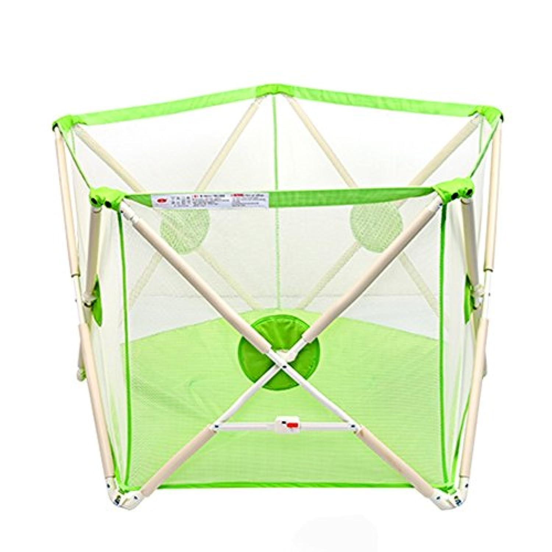 ポータブルベビープレイペイントボーイガールキッズ5パネルの安全性のプレーセンターヤードホーム屋内屋外多目的 (色 : Green Playpen)