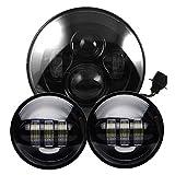 SILIVN ハーレーダビッドソン用 LED補助灯 4.5インチ フォグランプ 7インチ ヘッドライト アルミダイキャストボディ クリアPCレンズ ブラック LEDライトセット 一年保証付き (¥ 13,580)