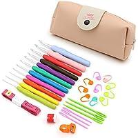 Sumnacon 手芸 編み針 30点セット 11本カギ針 ケース付き ピンク