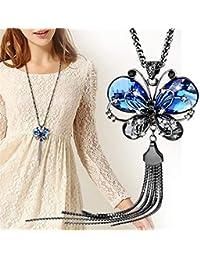 PINKING ロングネックレス 蝶ペンダント ファッション レディース セーターチェーン ファッション