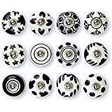 Set of 12 Pcs Ceramic Door Knobs Hand Painted Beautiful Cupboard Knobs Cabinet Drawer Pull knobs Kitchen Knobs (Black)