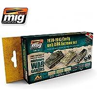 AmmoのMig Jimenezウォーゲーム初期とドイツアフリカ軍団セットアクリル6 Jars 17 ml # 7116