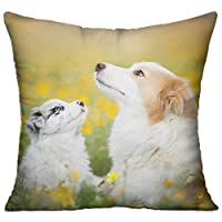 Dog Flowers Square Pillow Cover - 18 X 18 Inch Cotton Home Decorative Throw Pillowcase