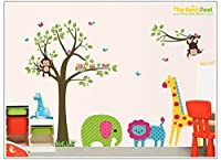 The Real Peel Premium Removable Wall Stickers for Kids Rooms, Nursery, Baby, Boys & Girls Bedroom - Peel & Stick, Large Removable Vinyl Wall Decal Stickers (Fantasy Zoo) by The Real Peel