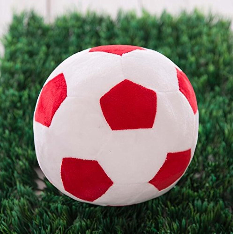 Dalino ソフトぬいぐるみ ソフト シミュレーション 22cm フットボール ぬいぐるみ おもちゃ 人形 子供 ギフト (レッド ホワイト カラー)