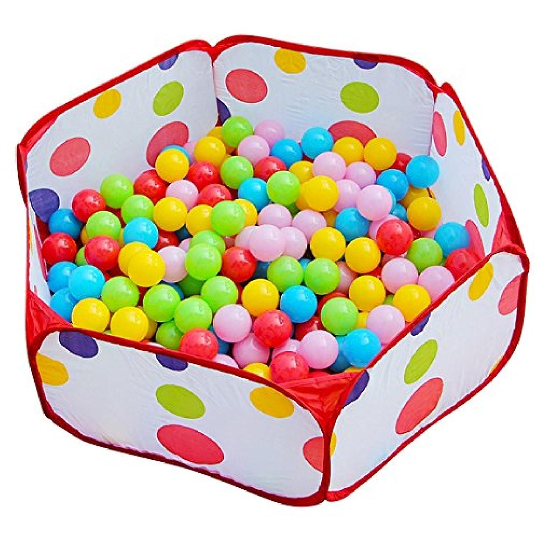 折り畳み式ベビープレイペンポータブルフェンス屋内屋外ホームキッズアクティビティセンター6パネル、120cm直径 (色 : Playpen+50 Balls)