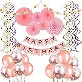 誕生日 飾り付け セット 超豪華36点 バースデー 飾り ピンク系 HAPPY BIRTHDAY ペーパーファン きらきら風船 コンフィッティ入りバルーン (バルーングルー付き)