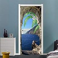 Mingld Pvc壁紙現代の海辺の風景写真壁画リビングルームの寝室のドアのステッカー自己接着防水3D-250X175Cm