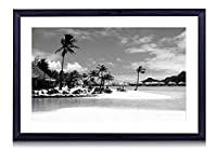 ボラボラビーチリゾートパーム海 - 木製の黒色のフォトフレーム - 壁の絵 壁掛け ソファの背景絵画 壁アート写真の装飾画の壁画 - 白黒 海 - (40cmx30cm)