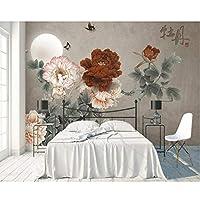 Wuyyii 中国風の牡丹の花鳥3D壁紙、リビングルームのソファテレビ壁寝室キッチンウォールペーパー家の装飾カフェ-350X250Cm
