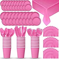 (Hot Pink) - Disposable Paper Dinnerware for 24 - Hot Pink - 2 Size plates, Cups, Napkins , Cutlery (Spoons, Forks, Knives), and tablecovers - Full Party Supply Pack