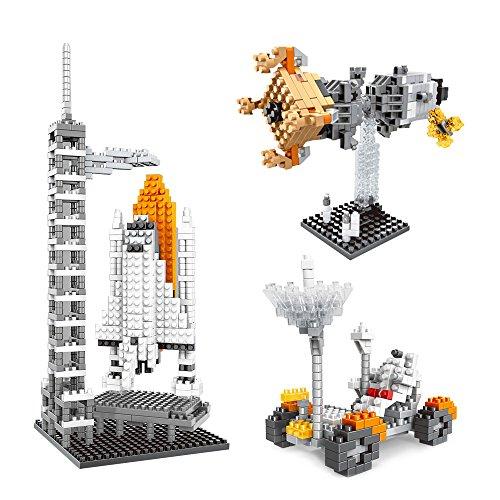 AMZtronics ナノブロック 知育玩具 宇宙システム 月面車+人工衛星+ロケット宇宙セット ミニブロック