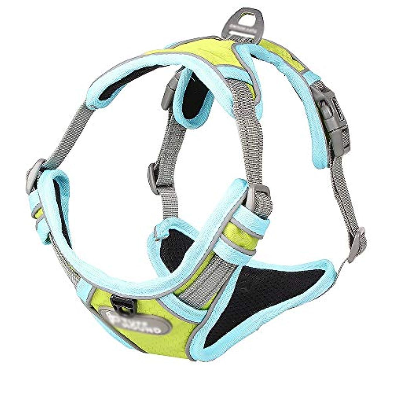 軍隊インポート下手Aikemi kasur 犬のハーネス通気性の調節可能なペット用ベスト、アウトドア用ハンドル付き しつけ 胴輪 引っ張り防止 (色 : Fluorescence)