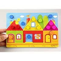 Early Educational Toy Wooden Mushroom Nail Jigsaw Puzzle Colour Matching Toy for Boys and Girls