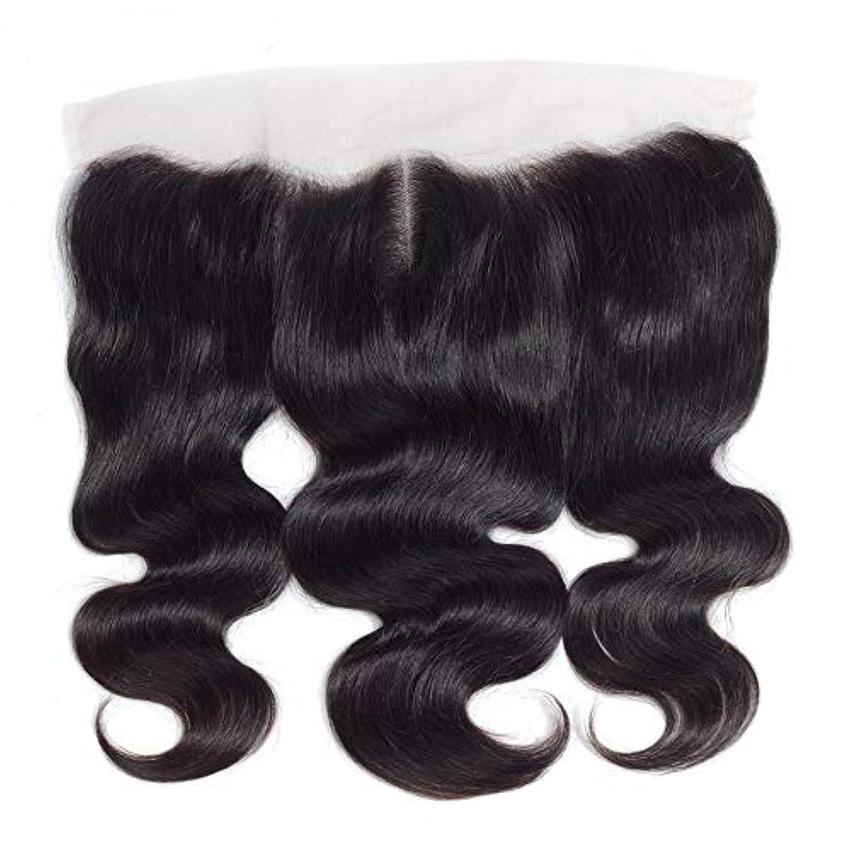 人類略す制限されたWASAIO 13個の* 4つのレースフロンタル閉鎖人間のヘアエクステンションクリップ裏地なし髪型Piece-ブラジルボディウェーブトップ中間セクション別れ (色 : 黒, サイズ : 18 inch)