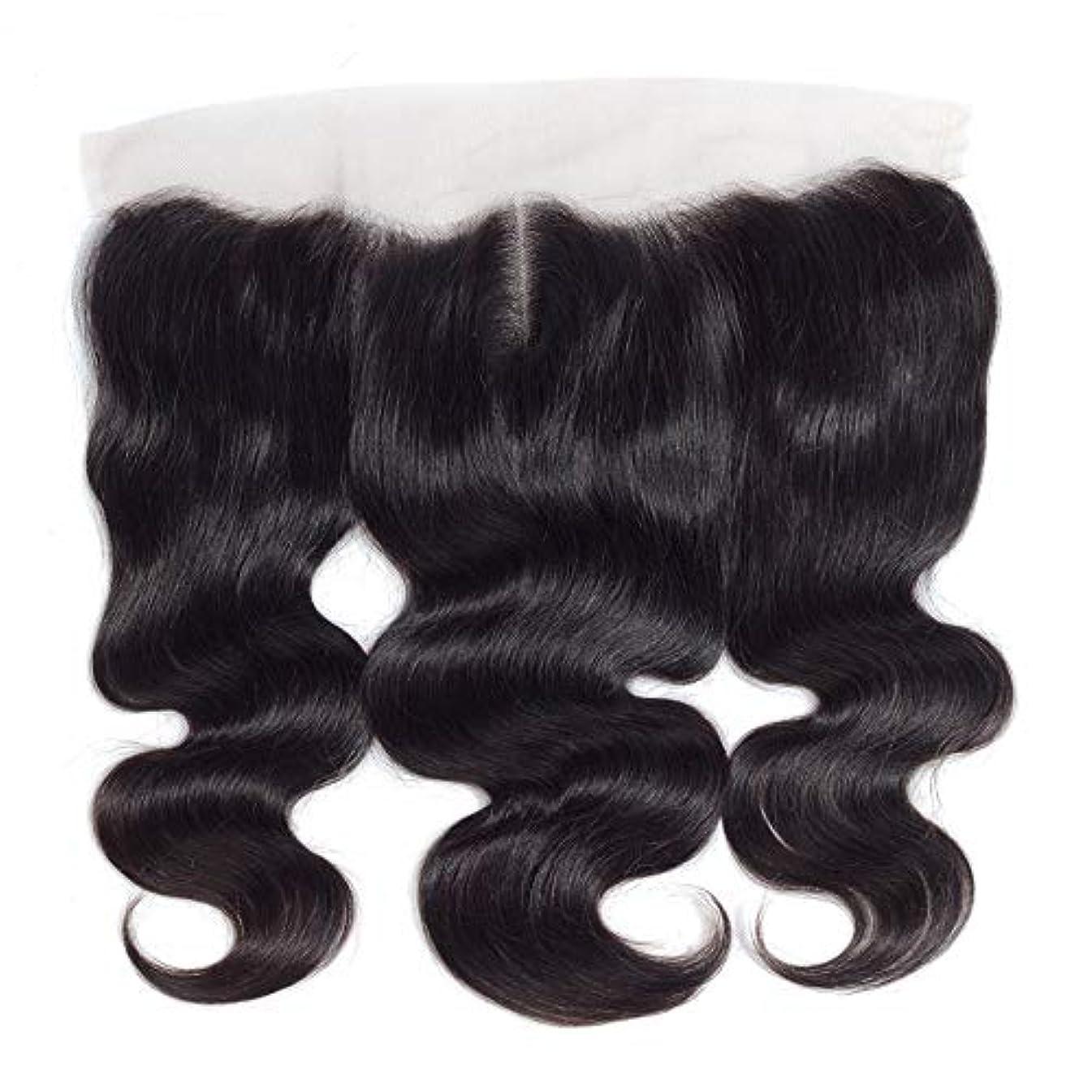 着服不合格満たすWASAIO 13個の* 4つのレースフロンタル閉鎖人間のヘアエクステンションクリップ裏地なし髪型Piece-ブラジルボディウェーブトップ中間セクション別れ (色 : 黒, サイズ : 18 inch)