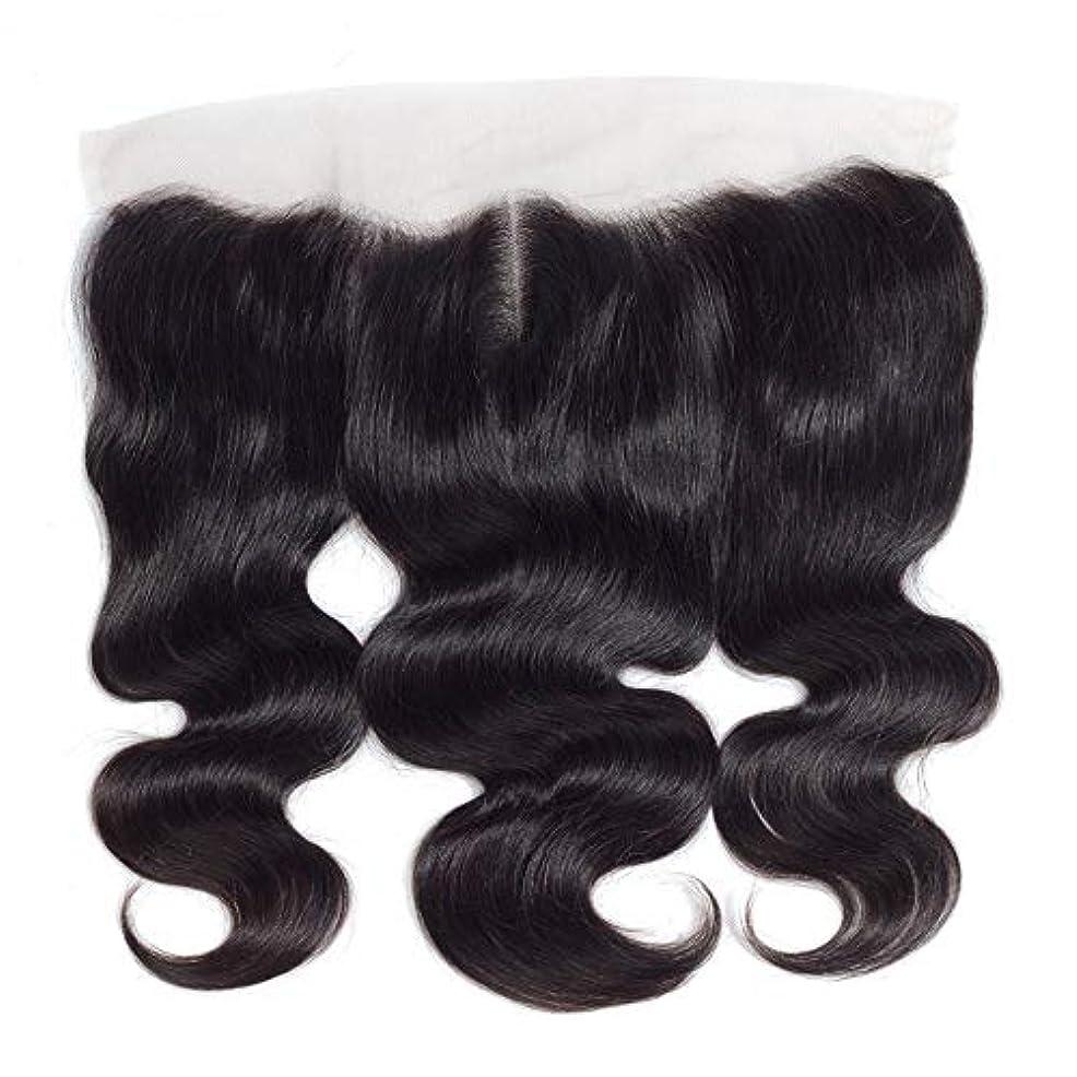 ジーンズニックネームタッチWASAIO 13個の* 4つのレースフロンタル閉鎖人間のヘアエクステンションクリップ裏地なし髪型Piece-ブラジルボディウェーブトップ中間セクション別れ (色 : 黒, サイズ : 18 inch)