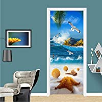 Xbwy 現代の海辺の風景ドアステッカーPvc自己粘着防水壁画壁紙リビングルーム環境に優しい写真壁絵画-150X120Cm