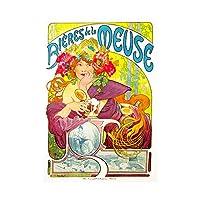 Vintage Advert Mucha Bieres Beer Meuse Nouveau Drink Wall Art Print ビンテージ広告ビールヌーボードリンク壁