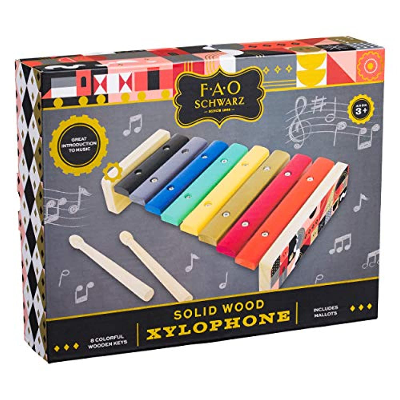 FAO Schwarz AFAO513 天然無垢材 8色 キー 木琴 おもちゃ (3個) マルチカラー
