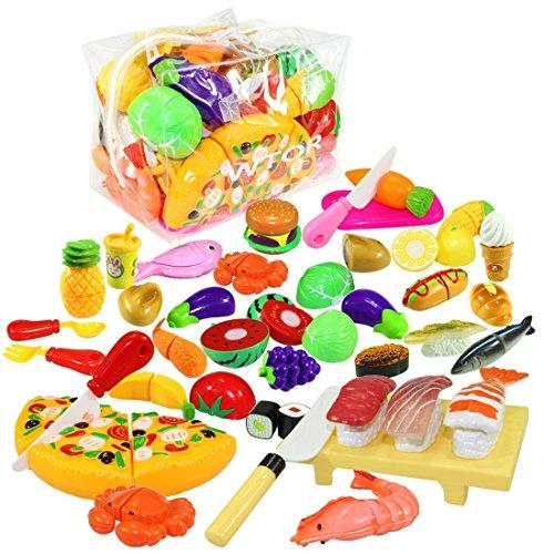 WTOR 39点 セット おままごと 寿司 野菜 果物 ハンバーグ キッチン お料理しましょう! 収納バッグ付け