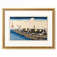 歌川 広重 Utagawa Hiroshige 「京都名所之内 淀川」 額装アート作品