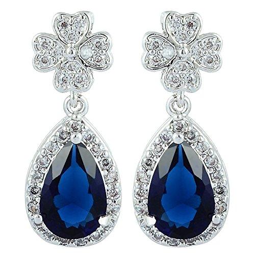 [RIVA Jewelry]ブルーサファイア[CZ]18K ホワイトゴールド メッキドロップイヤリングシンプル モダン 優雅 [ジュエリーポーチ無料]