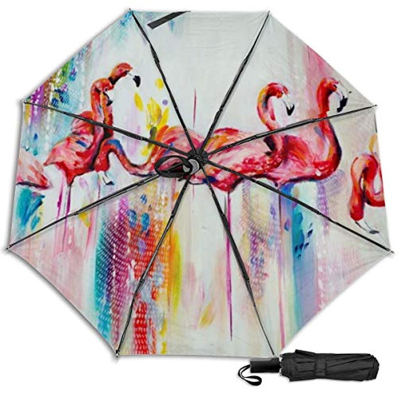 旅行者対応オープナーフラミンゴ日傘 折りたたみ日傘 折り畳み日傘 超軽量 遮光率100% UVカット率99.9% UPF50+ 紫外線対策 遮熱効果 晴雨兼用 携帯便利 耐風撥水 手動 男女兼用