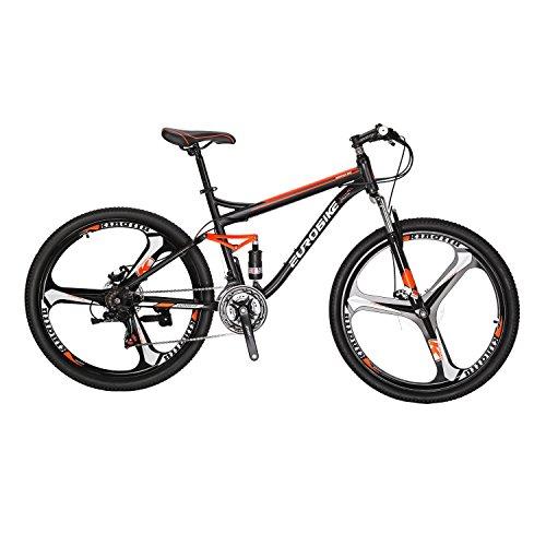 EUROBIKE MTB マウンテンバイク S7 27.5 21段変速 前後ディスクブレーキ ハードテイル自転車 ブラック/オレンジ 27.5