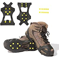 ZZM Ice Cleats for shoes and Boots/ Snow Tractions for Men Women Youth Kids/ Ice Grips Footwear Crampon for Walking, Jogging, Hiking, Footwear on Snow (2 Sets +10 Studs)