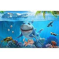 Mbwlkj 3Dかわいいサメの壁紙壁の壁画カスタム写真の壁紙子供の寝室保育園テレビの背景漫画部屋の装飾-200cmx140cm