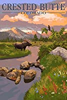 Crested Butte、コロラド–Moose and Meadowシーン 24 x 36 Giclee Print LANT-53213-24x36