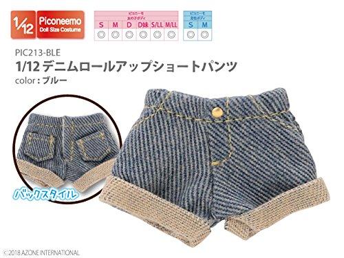 ピコニーモ用 1/12 デニムロールアップショートパンツ ブルー (ドール用)