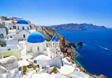 ギリシャブルーハウス 風景の写真 キャンバス印刷アートポスター(40cmx60cm)