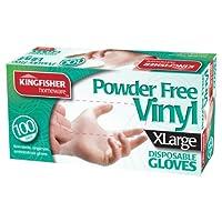 キングフィッシャーパウダーフリービニール使い捨て手袋、大 - 100個入り