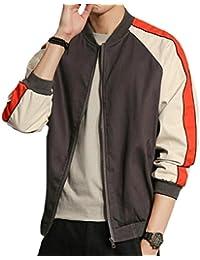 chenshiba-JP メンズカラーブロックカジュアルジップジャケット